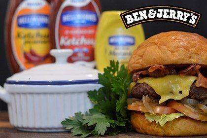Combo R$ 35: Burger JACQUIN + Drink de Chá Lipton + Batata McCain + Sorvete Ben & Jerry's 458ml