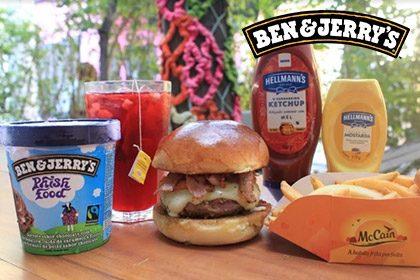 Combo R$ 35: Burger + Drink de Chá Lipton (Opção Whisky Jameson 18+) + Batata McCain + Sorvete Ben & Jerry's 458ml
