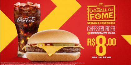 Cheeseburger + Refrigerante Pequeno R$8 – Bateu a Fome