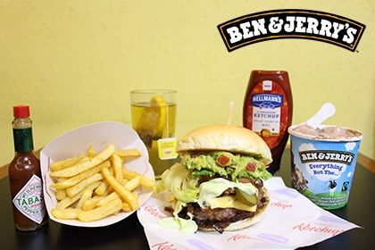 Combo R$ 35: Burger Fat Boy Diablo + Drink de Chá Lipton + Batata McCain + Sorvete Ben & Jerry's 458ml