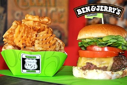 Combo R$ 35: The Original Burger + Drink de Chá Lipton + Batata McCain + Sorvete Ben & Jerry's 458ml