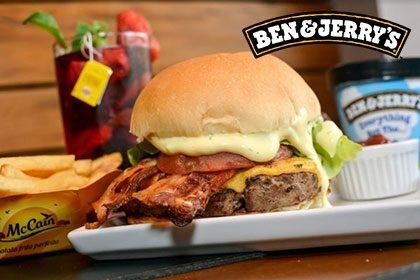 Combo R$ 35: PB Turbinado + Drink de Chá Lipton + Batata McCain + Sorvete Ben & Jerry's 458ml