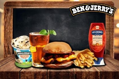 Combo R$ 35: Qualquer Lanche + Drink de Chá Lipton + Batata McCain + Sorvete Ben & Jerry's 458ml