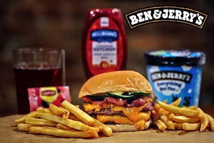Combo R$ 35: Burger Mayweather + Drink de Chá Lipton + Batata McCain + Sorvete Ben & Jerry's 458ml