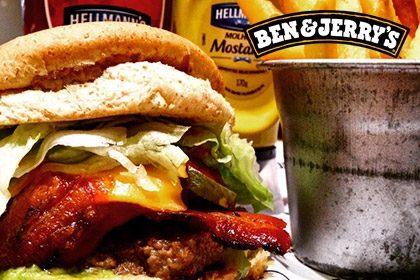 Combo R$ 35: Burger America + Drink de Chá Lipton + Batata McCain + Sorvete Ben & Jerry's 458ml
