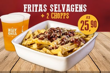 Fritas Selvagens com 2 Chopps por apenas R$ 25,90! [18+ anos]
