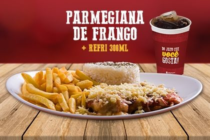 Parmegiana de Frango com arroz e fritas + Refrigerante 300ml por apenas R$ 20,90!