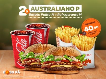 2 Bob's Australianos Picanha P + 2 Batatas M + 2 Refris M por R$ 40,90