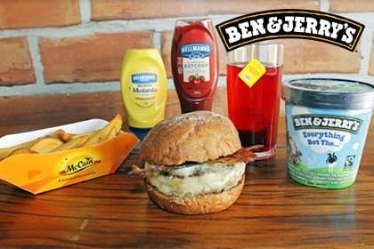 Combo R$ 35: Salad Burger ou Bacon Burger + Drink de Chá Lipton + Batata McCain + Sorvete Ben & Jerry's 458ml