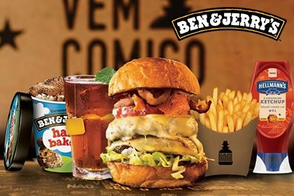 Combo R$ 35: Burger + Drink de Chá Lipton + Batata McCain + Sorvete Ben & Jerry's 458ml