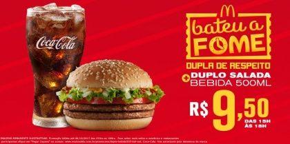 Duplo Salada + Bebida Média R$9,50 - Bateu a Fome