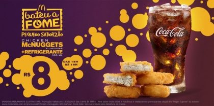 Chicken McNuggets 4 unidades + Refrigerante 300ml R$8 – Bateu a Fome