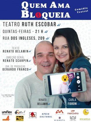 """Espetáculo """"QUEM AMA BLOQUEIA"""" por apenas R$ 30,00!"""