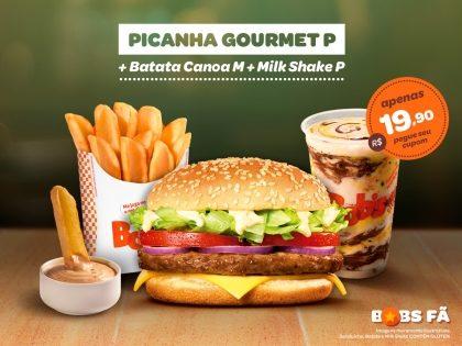 Picanha Gourmet P + Batata Canoa M + Milk Shake P por R$19,90