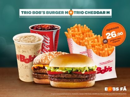1 Cheddar M + 1 Bob's Burger M + 2 Batatas Palito M + 2 Refris M ou 2 Milk Shakes P R$26