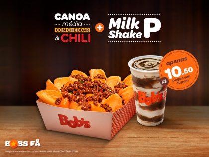 Batata Canoa Média com Cheddar & Chilli M + Milk Shake P por apenas R$10,50!