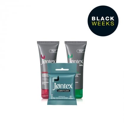 Kit Jontex Lubrificantes 1 Menthol E 1 Cereja + 2 Preservativos 3 Unid