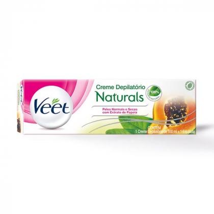 Creme Depilatório Corporal Veet Naturals Peles Normais e Secas com Extrato de Papaia