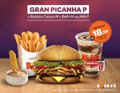 Gran Picanha P + Batata Canoa M + Refri M ou Milk Shake P por R$18,50