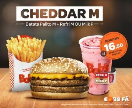 Cheddar M + Batata M + Refrigerante M ou Milk Shake P por  R$16,50