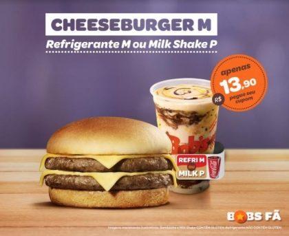 Cheeseburger M + Refrigerante M ou Milk Shake P por R$13,90