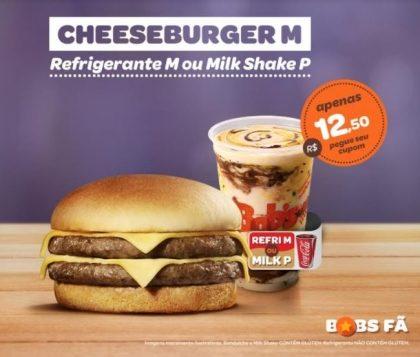 Cheeseburger M + Refrigerante M ou Milk Shake P por R$12,50