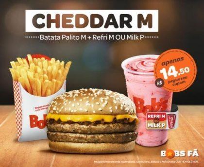Cheddar M + Batata M + Refrigerante M ou Milk Shake P por R$14,50