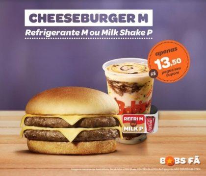 Cheeseburger M + Refrigerante M ou Milk Shake P por R$13,50