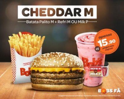 Cheddar M + Batata M + Refrigerante M ou Milk Shake P por R$15,90
