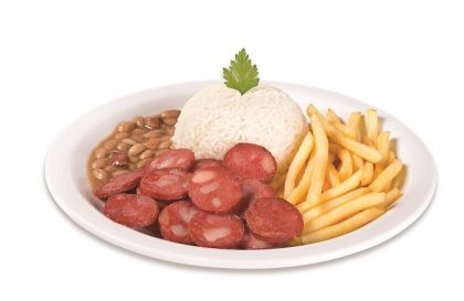 Top Center: Calabresa + Arroz + Feijão + Fritas ou Purê por R$ 12,00!
