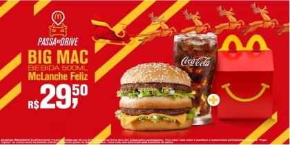 Drive-Thru: Big Mac + Bebida 500ml + McLanche Feliz R$29,50