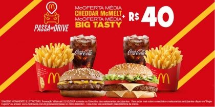 Drive-Thru: McOferta Média Cheddar McMelt + McOferta Média Big Tasty R$40