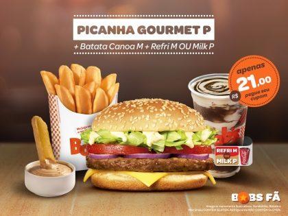Picanha Gourmet P + Batata Canoa M + Refrigerante M ou Milk Shake P por R$21,00
