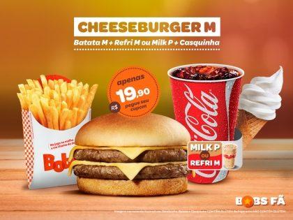 Cheeseburger M + Batata Palito M + Refrigerante M ou Milk Shake P + Casquinha por R$19,90