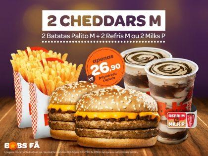 2 Cheddars M + 2 Batatas M + 2 Refrigerantes M ou 2 Milk Shakes P por R$26,90