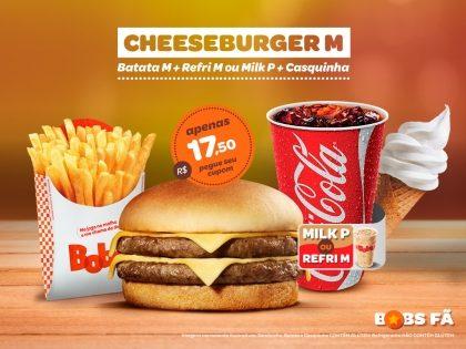 Cheeseburger M + Batata Palito M + Refrigerante M ou Milk Shake P + Casquinha por R$17,50