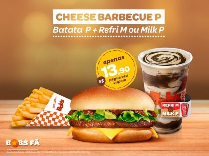 Cheese Barbecue P + Batata P + Refrigerante M ou Milk Shake P por R$13,90