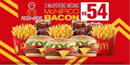 Drive-Thru: 3 McOfertas Médias McNífico Bacon R$54