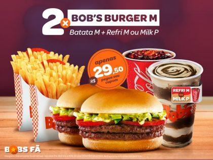 2 Bob's Burgers M + 2 Batatas M + 2 Milks P ou 2 Refris M por R$29,50