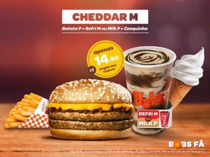 Cheddar M + Batata P + Milk P ou Refri M + Casquinha por R$14,90