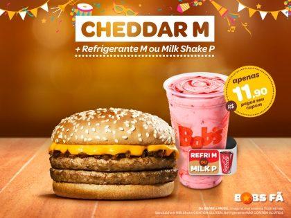 Cheddar M + Refri M ou Milk Shake P por apenas R$11,90
