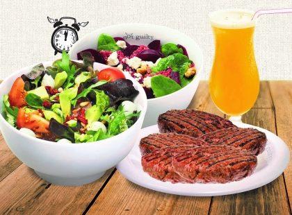 Qualquer Salada pequena sem proteína + Hambúrguer + Suco de laranja ou limão por R$25,50