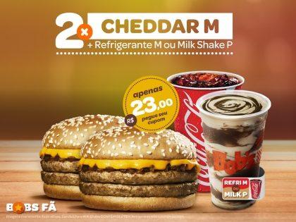 2 Cheddars M + 2 Refrigerantes M ou 2 Milk Shakes P por R$23,00