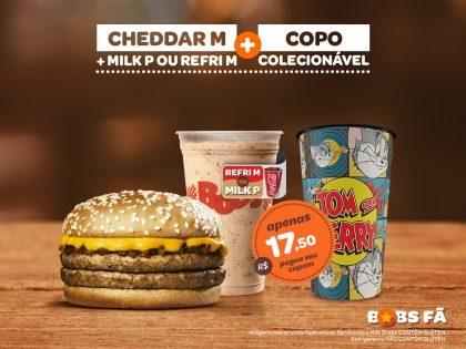 Cheddar M + Milk Shake P ou Refri M + Copo Colecionável por R$17,50