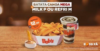 Batata Canoa Mega + Milk Shake P ou Refrigerante M por R$12,50