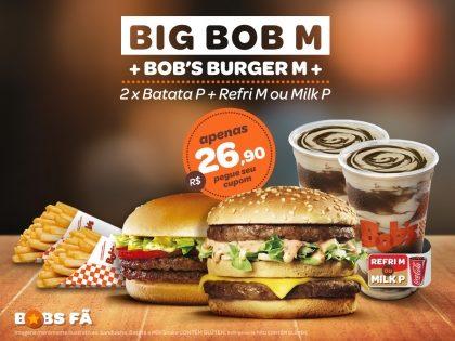 Big Bob M + Bob's Burger M + 2 Batatas P + 2 Refrigerantes M ou Milk Shakes P por R$26,90