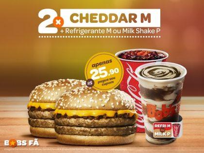 2 Cheddars M + 2 Refrigerantes M ou 2 Milk Shakes P por R$ 25,90