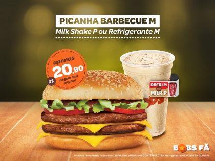 Picanha Barbecue M + Milk Shake P ou Refrigerante M por R$20,90
