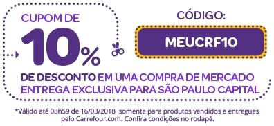 Dia do Consumidor: Cupom de 10% de desconto em uma compra de mercado no site!