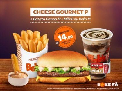 Cheese Gourmet P + Batata Canoa M + Milk Shake P ou Refrigerante M por R$14,90